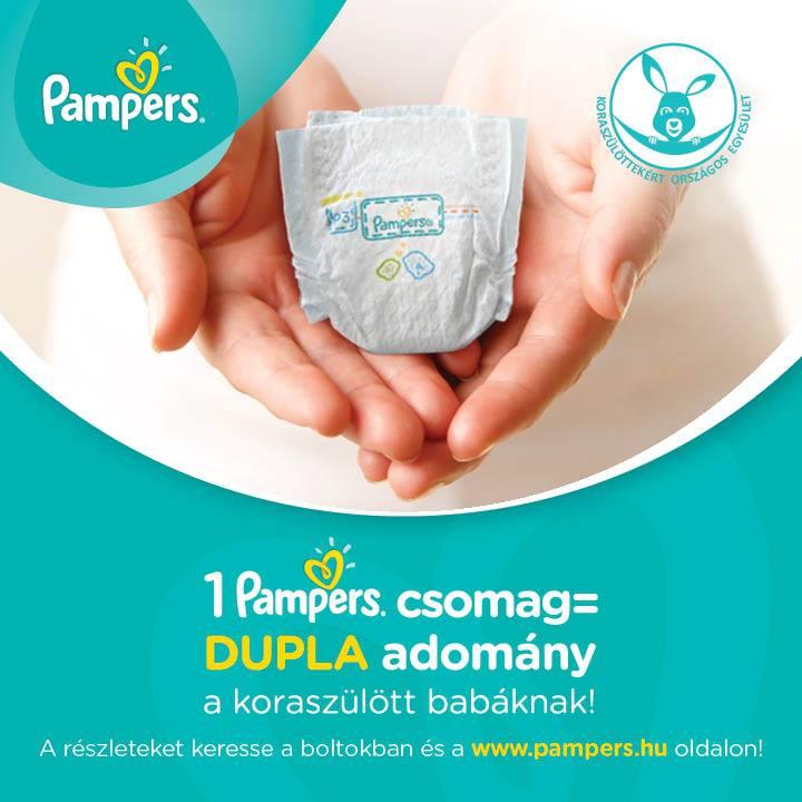 1 Pampers csomag = DUPLA adomány a koraszülött babáknak!